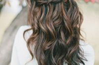 02 a wavy braided half updo with balayage is impressive and will be a fit for a boho bride