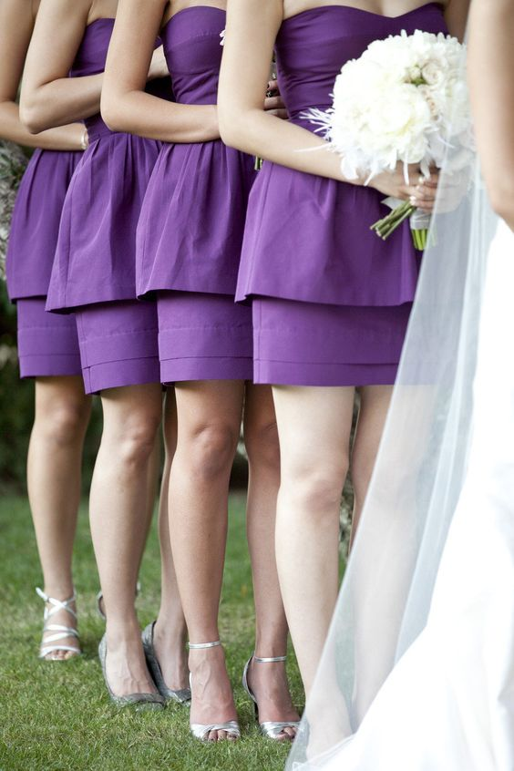 strapless peplum bridesmaids' dresses are a great idea to add the fashionable color to your wedding