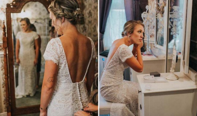 The wedding dress was a sheath lace one, with short sleeves, an open back and a row of buttons on the back