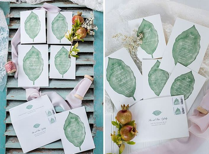 The wedding stationery was with green watercolor leaves to give it a natural touch