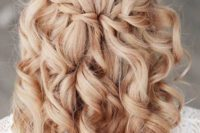 03 a braided half updo with curls looks cute, girlish and very glam