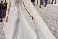 03 a spaghetti strap sheath wedding dress with a lace bodice and a flowy and light overskirt