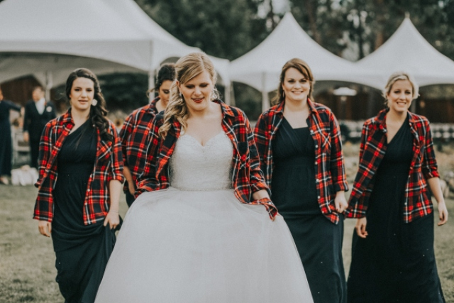 All the girls covered up with flannel shirts, which gave their looks a cute rustic feel