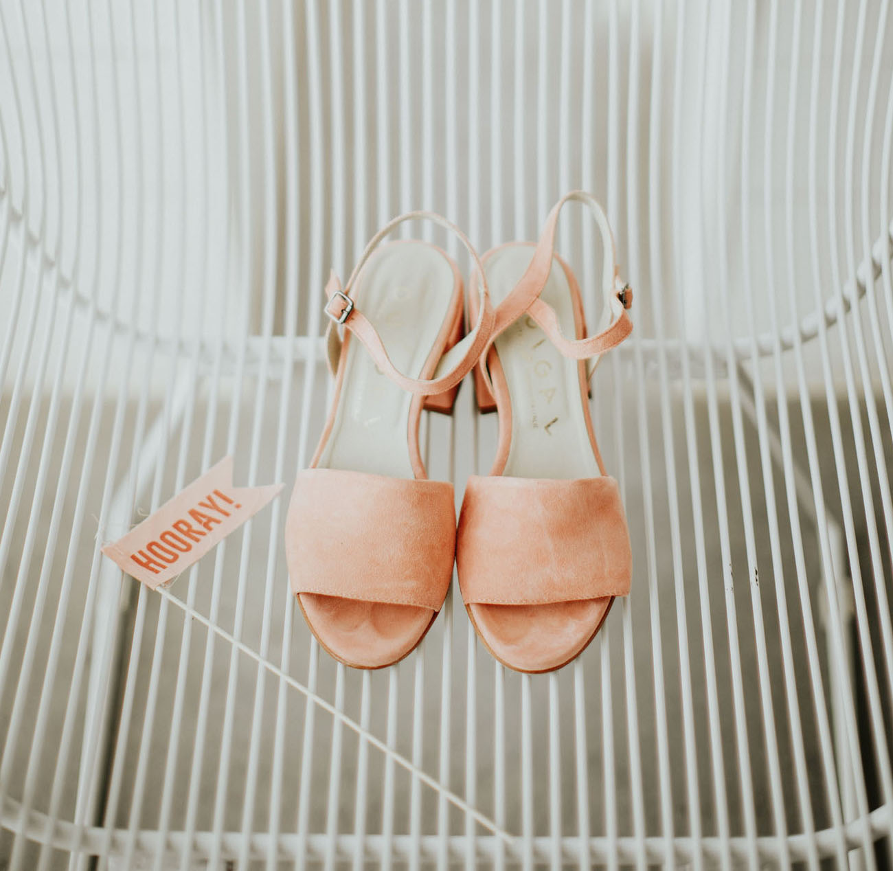 The wedding shoes were cute and comfy peachy pink ones