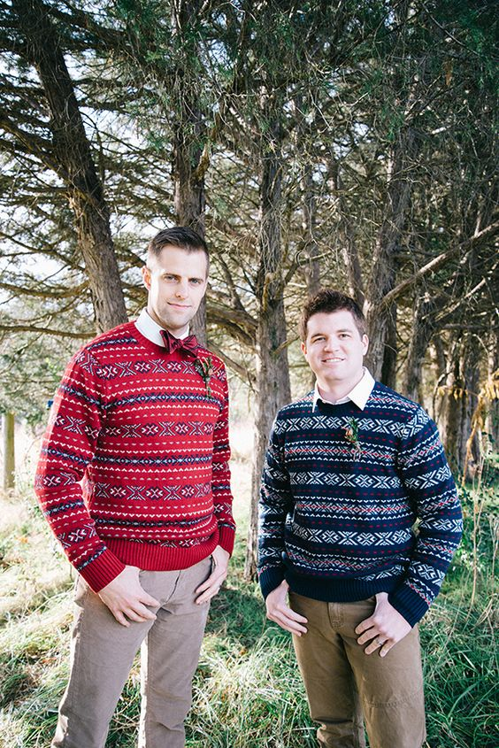 a red printed sweater with a red bow tie and a groomsman wearing a navy printed jumper