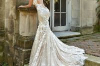 05 a champagne mermaid wedding dress with cap sleeves, an illusion open back and a train to make a statement
