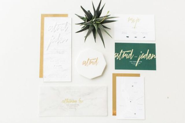 modern white, emerald and gold stationery with geometric touches and calligraphy