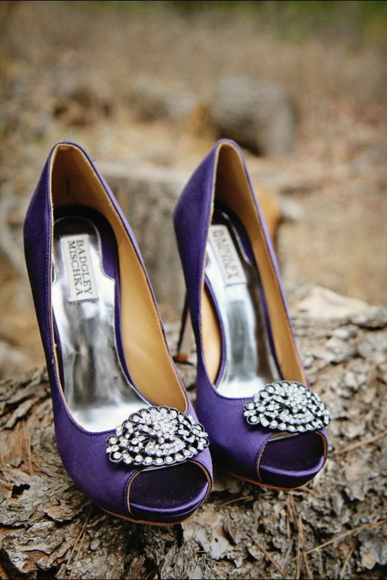 ultra violet embellished Badgley Mischka wedding shoes with peep toes