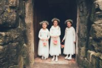 06 The flower girls were dressed in white and baby's breath crowns