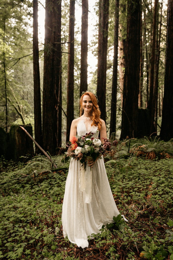 The gorgeous wedding dress was an A-line, with beautiful lace inserts