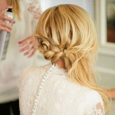 a braided half updo with some hair down will fit medium length hair