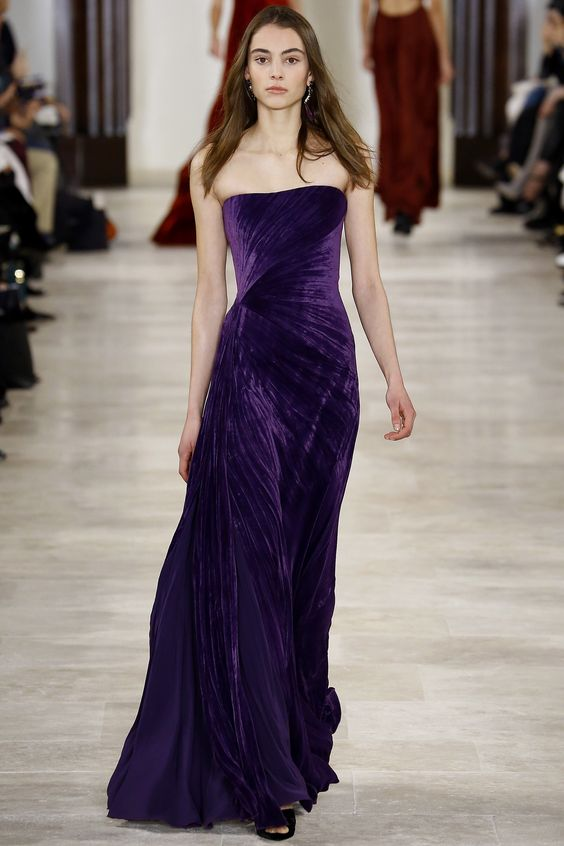 a draped strapless ultra violet wedding dress and matching shoes for a daring bride