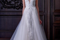 06 a lace illusion strap wedding dress with wide straps and a tulle overskirt looks chic