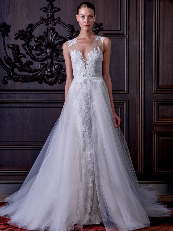 a lace illusion strap wedding dress with wide straps and a tulle overskirt looks chic