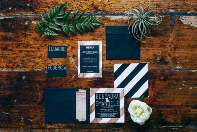 navy, white and copper industrial wedding stationery with stripes