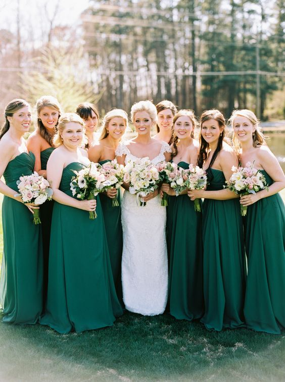 strapless maxi bridesmaids' dresses in emerald look chic and timeless