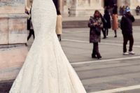 06 strapless textural lace applique wedding gown with a train looks chic and romantic