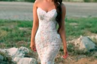 07 a strapless blush mermaid wedding gown in blush with white lace appliques and a train