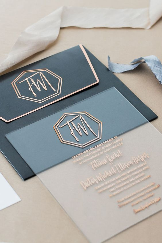 an acrylic wedding invitation with copper letters for a modern or elegant art deco wedding
