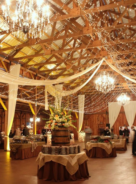 canopies of string lights will look in a rustic, vineyard, industrial or any other space