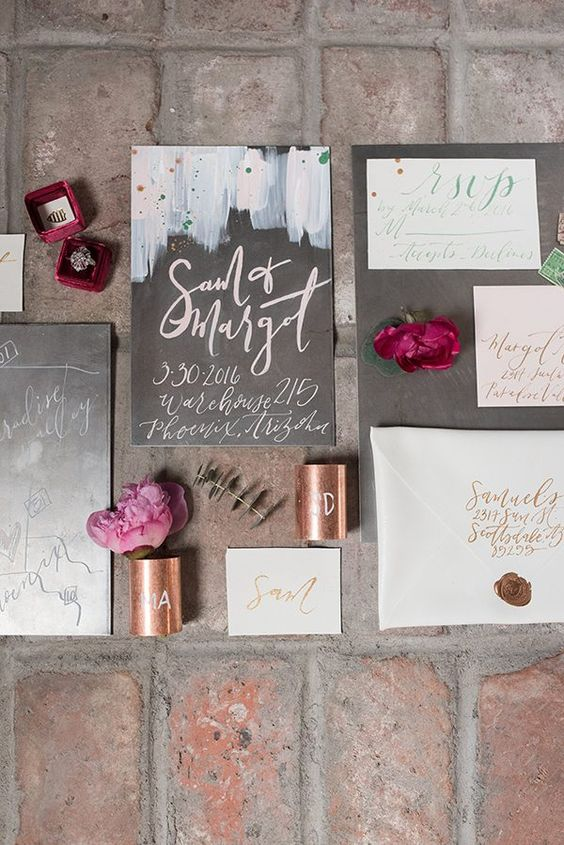 grey wedding stationery in grey and with pastel strokes