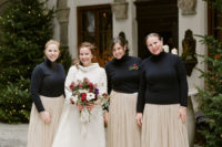 08 The bridesmaids were wearing blush maxi skirts and black turtleneck