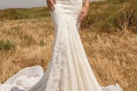 08 strapless boho lace mermaid wedding dress with a train looks very chic and sexy