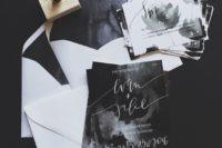 moody watercolor wedding invitations