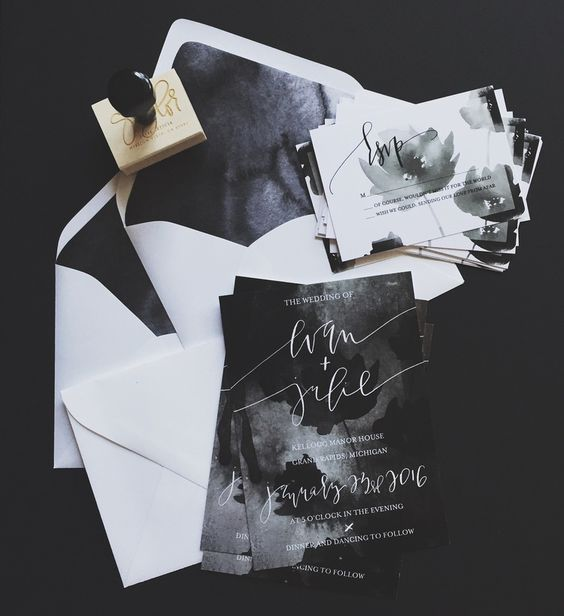 dark watercolor invitations are trendy and edgy because of combining two trends in one
