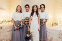 10 The bridesmaids were wearing dove grey tulle skirts and white tops
