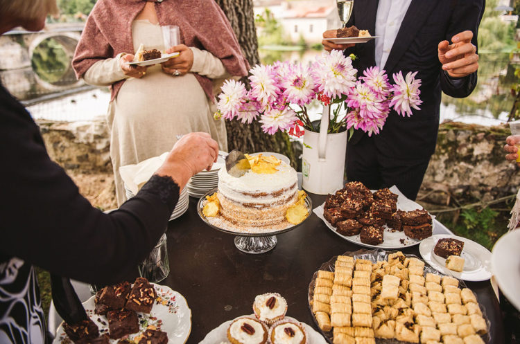 The cakes were baked by the bride and her mom the day before the wedding