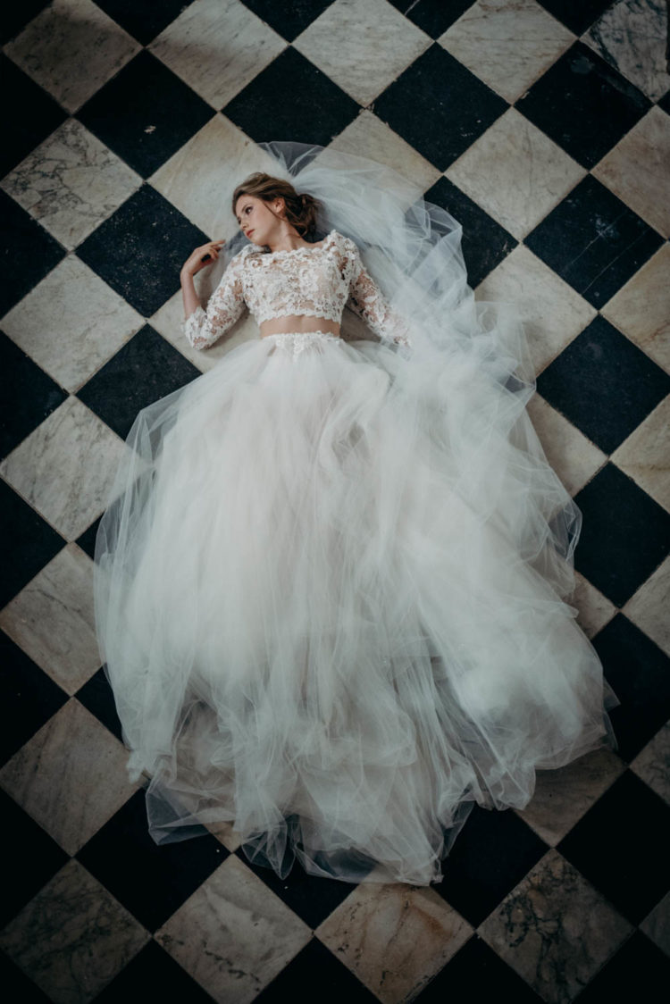 The first dress was a separate, with a lace applique top and a tulle full skirt