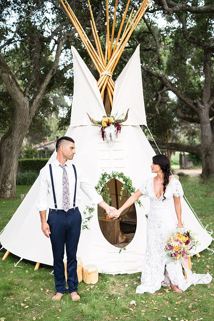 The wedding tipi was one of the coolest parts of the shoot