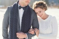 10 a white cable knit sweater over the neutral wedding dress for outdoor shots