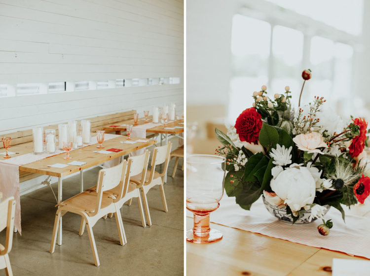 The tables were styled with colored glasses, blush table runners and candles