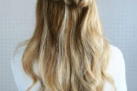 11 half up pull through braided hairstyle is a stunning idea to try