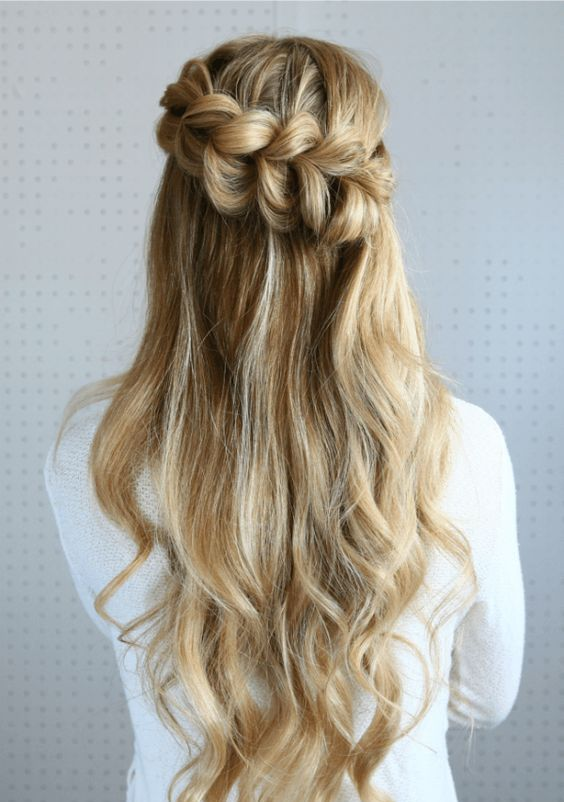half up pull through braided hairstyle is a stunning idea to try