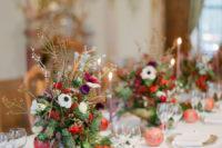 wedding table decor with pinecones