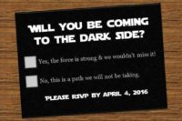 12 a creative Star Wars RSVP card for a themed wedding