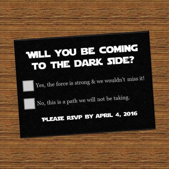 a creative Star Wars RSVP card for a themed wedding