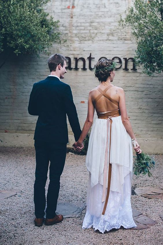 a leather ribbon for accessorizing your dress is a unique boho or industrial feature