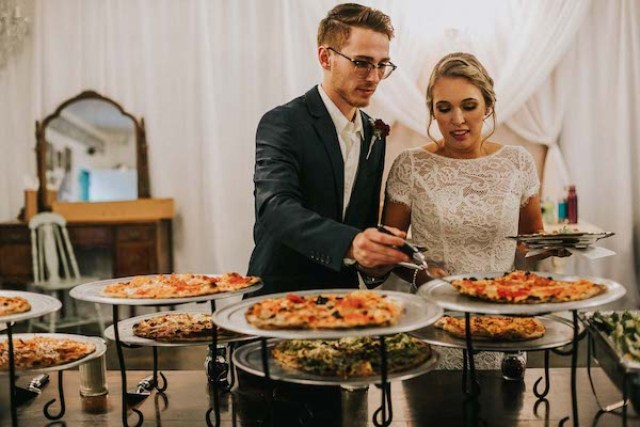 The couple decided to make a cool pizza bar to excite the guests