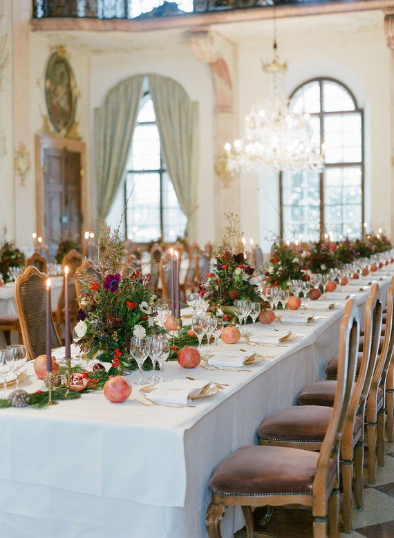 The table setting was elegant and chic, with gilded touches