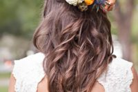 13 a wavy braided half updo with fresh blooms that fit the wedding bouquet