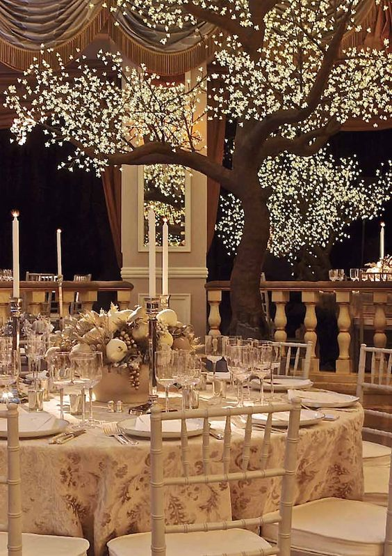 trees lit with illuminated crystals are amazing for a winter wonderland wedding or just a romantic affair with a fairy-tale touch