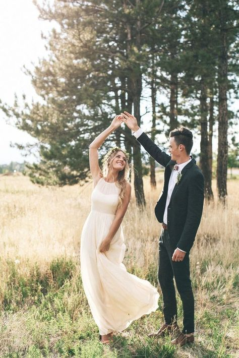 a modern plain wedding gown with an illusion strapless neckline for a simple and cute look