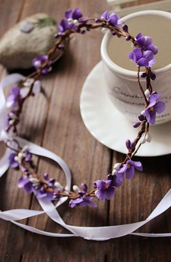 a floral violet crown with ribbons for a bride and bridesmaids looks ethereal