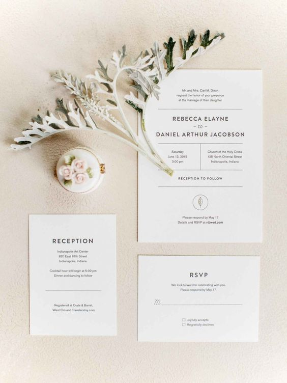 a reception card in the same style as the rest of the suite