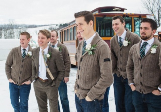 brown cable knit cardigans and jeans for the whole groom's team