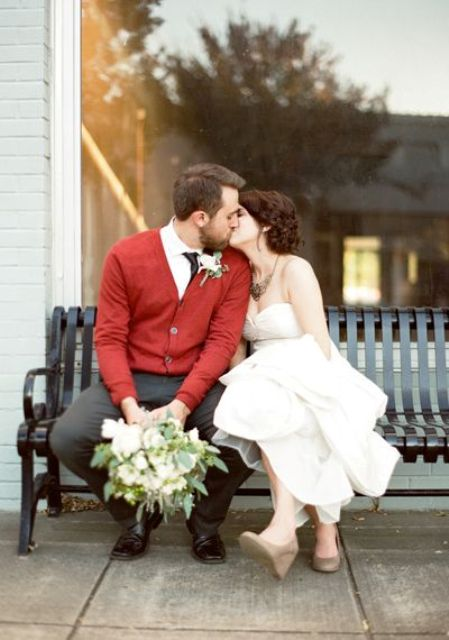 a red cardigan will be your pretty colorful touch, choose the shade that matches your wedding colors